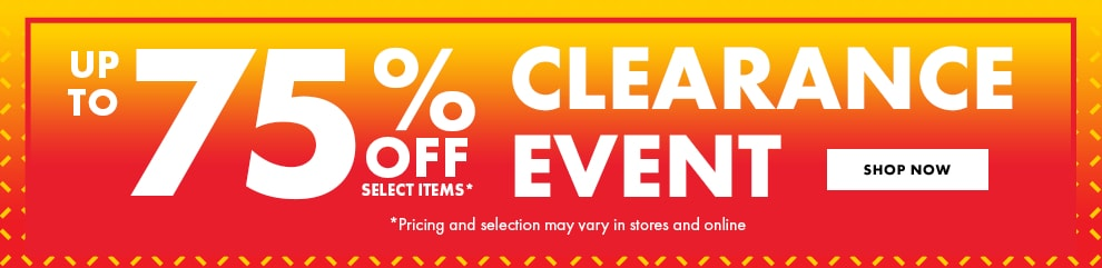 Up to 75% off clearance items